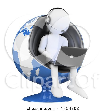 Clipart Graphic of a 3d White Man Customer Service Rep Using a Laptop in a Globe Chair, on a White Background - Royalty Free Illustration by Texelart