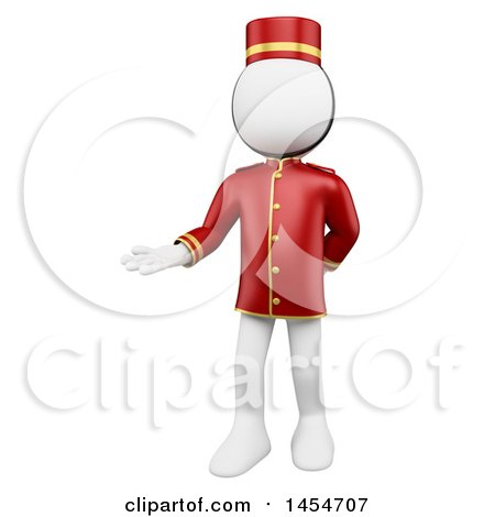 Clipart Graphic of a 3d White Man Hotel Worker Bellboy Welcoming, on a White Background - Royalty Free Illustration by Texelart