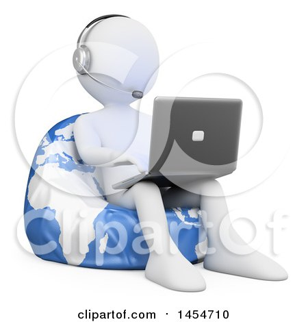 Clipart Graphic of a 3d White Man Customer Service Rep Using a Laptop on a Globe Bean Bag Chair, on a White Background - Royalty Free Illustration by Texelart