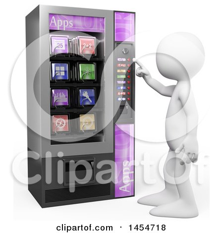 Clipart Graphic of a 3d White Man Using an Apps Vending Machine, on a White Background - Royalty Free Illustration by Texelart