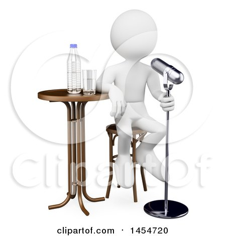 Clipart Graphic of a 3d White Man Comedian, on a White Background - Royalty Free Illustration by Texelart