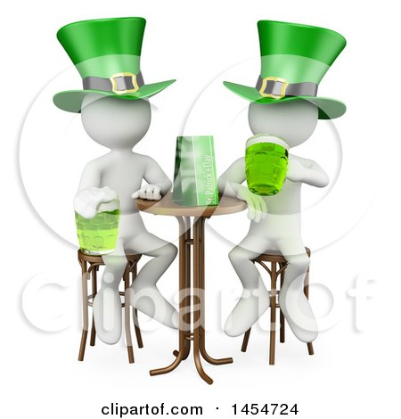 Clipart Graphic of 3d White Men Enjoying Beer on St Patricks Day, on a White Background - Royalty Free Illustration by Texelart