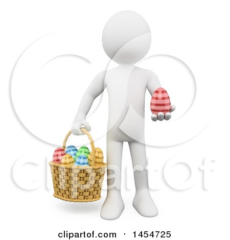 Clipart Graphic of a 3d White Man with a Basket and Easter Eggs, on a White Background - Royalty Free Illustration by Texelart