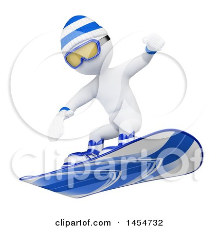 Clipart Graphic of a 3d White Man Snowboarding, on a White Background - Royalty Free Illustration by Texelart