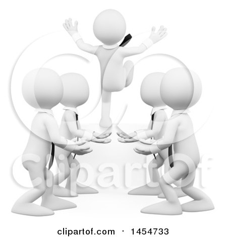 Clipart Graphic of a 3d Team of White Business Man Practicing Trust, on a White Background - Royalty Free Illustration by Texelart