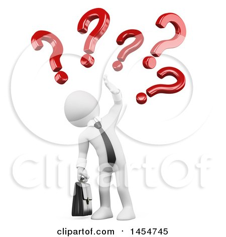 Clipart Graphic of a 3d White Business Man with Questions or Doubts, on a White Background - Royalty Free Illustration by Texelart
