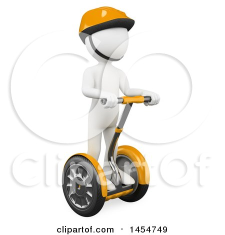 Clipart Graphic of a 3d White Man on a Segway, on a White Background - Royalty Free Illustration by Texelart