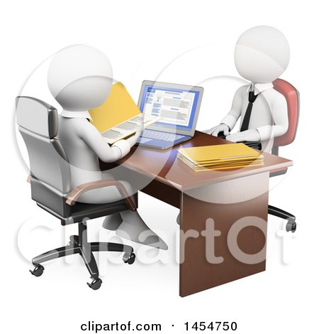 Clipart Graphic of a 3d White Business Man Interviewing an Applicant, on a White Background - Royalty Free Illustration by Texelart