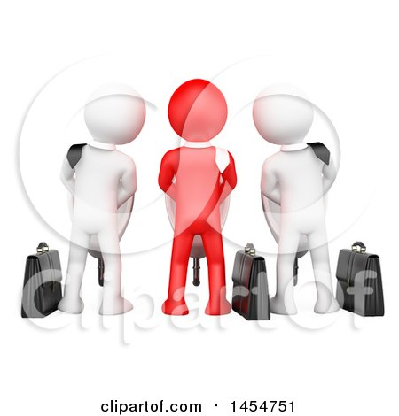 Clipart Graphic of 3d Red and White Business Men Using Urinals, Industrial Espionage, on a White Background - Royalty Free Illustration by Texelart