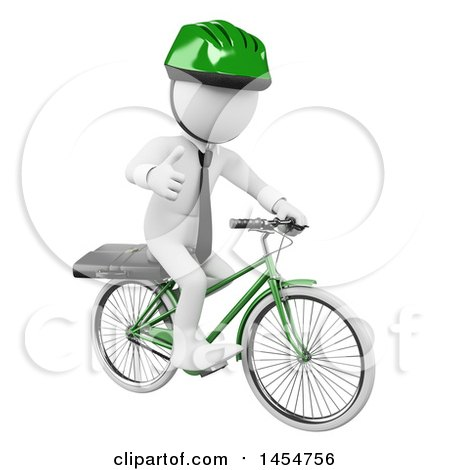 Clipart Graphic of a 3d White Business Man Giving a Thumb up and Riding a Bicycle, on a White Background - Royalty Free Illustration by Texelart