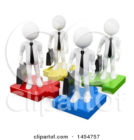 Clipart Graphic of a 3d Team of White Business Men on Colorful Puzzle Pieces, on a White Background - Royalty Free Illustration by Texelart