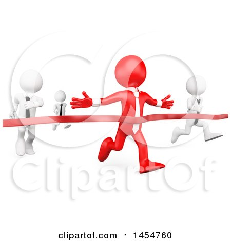 Clipart Graphic of a 3d Red Business Man Winning a Race Against White Opponents, on a White Background - Royalty Free Illustration by Texelart