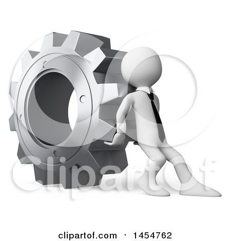 Clipart Graphic of a 3d White Business Man Pushing a Giant Gear Cog, on a White Background - Royalty Free Illustration by Texelart
