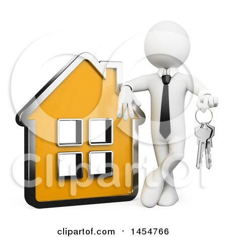 Clipart Graphic of a 3d White Business Man or Realtor Holding Keys and Leaning on a House, on a White Background - Royalty Free Illustration by Texelart