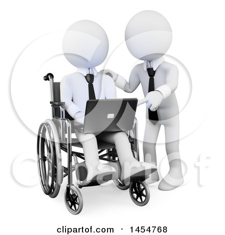 Clipart Graphic of a 3d White Disabled Business Man in a Wheelchair, Receiving Directions on a Laptop with a Partner, on a White Background - Royalty Free Illustration by Texelart