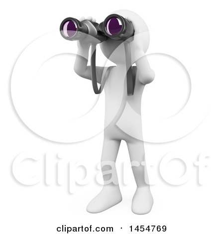 Clipart Graphic of a 3d White Man Using Binoculars, on a White Background - Royalty Free Illustration by Texelart