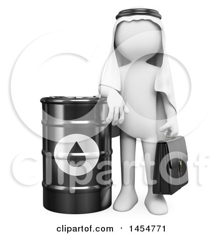 3d White Arabian Man with a Barrel of Oil, on a White Background Posters, Art Prints