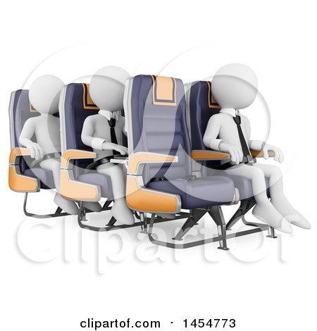 Clipart Graphic of 3d White Business Men in Airplane Seats, on a White Background - Royalty Free Illustration by Texelart