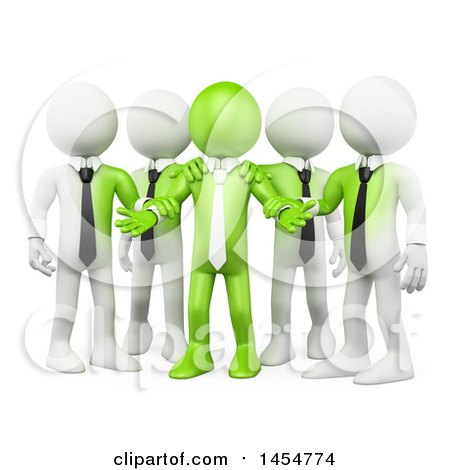 Clipart Graphic of a 3d Green Business Man Leader and White Team, on a White Background - Royalty Free Illustration by Texelart
