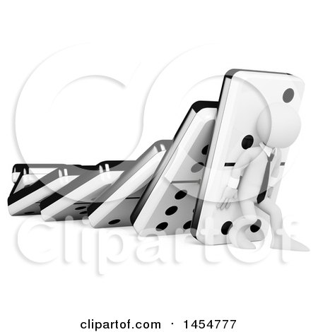 Clipart Graphic of a 3d White Businessman Trying to Hold up Dominos, Chain Reaction, on a White Background - Royalty Free Illustration by Texelart
