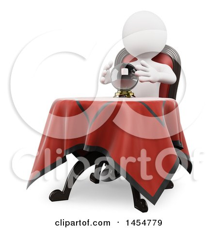 3d White Man Fortune Teller with a Crystal Ball, on a White Background Posters, Art Prints