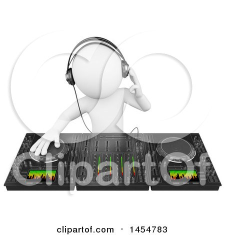Clipart Graphic of a 3d White Man Dj Using a Mixer, on a White Background - Royalty Free Illustration by Texelart