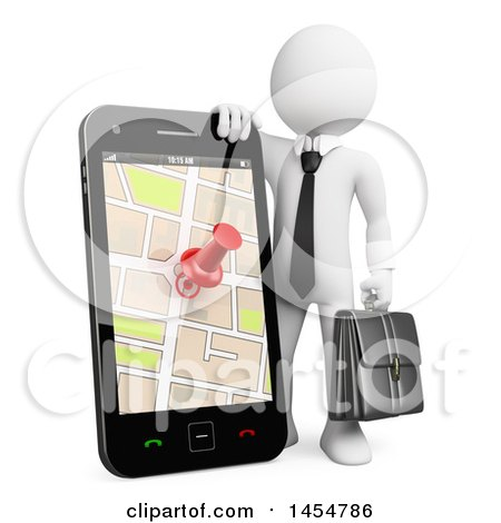 Clipart Graphic of a 3d White Business Man Leaning on a Giant Smart Phone with a Gps Map on the Screen, on a White Background - Royalty Free Illustration by Texelart