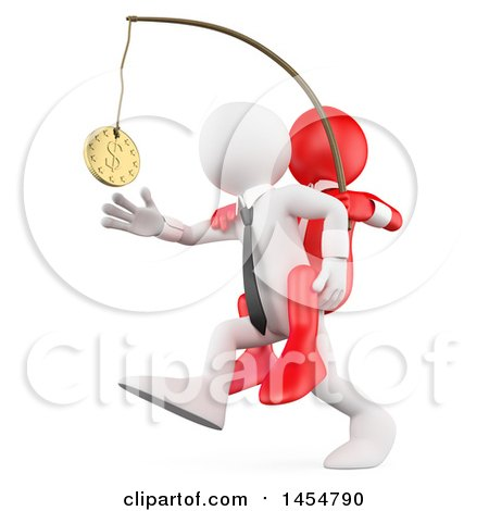 Clipart Graphic of a 3d White Business Man Chasing After Money on a Stick with a Red Boss on His Back, on a White Background - Royalty Free Illustration by Texelart