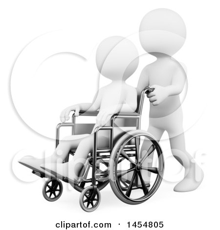 Clipart Graphic of a 3d White Man Helping Someone in a Wheelchair, on a White Background - Royalty Free Illustration by Texelart