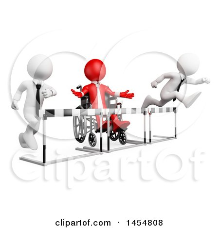 Clipart Graphic of a 3d Red Disabled Business Man in a Wheelchair, Blocked by Barriers in a Race Against Opponents, on a White Background - Royalty Free Illustration by Texelart