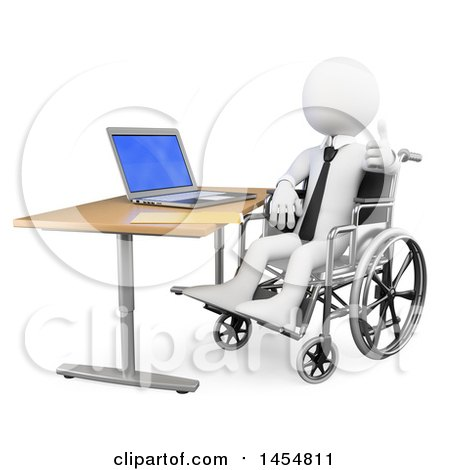 Clipart Graphic of a 3d White Disabled Business Man Giving a Thumb up in a Wheelchair While Working on a Laptop, on a White Background - Royalty Free Illustration by Texelart