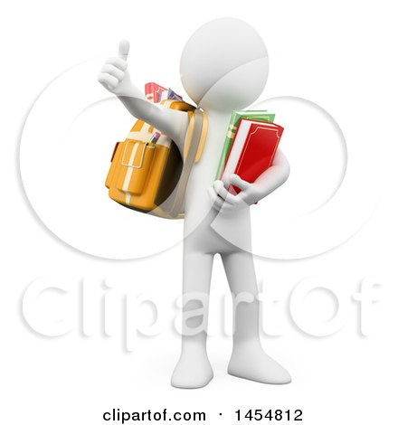 Clipart Graphic of a 3d White Man Student Wearing a Backpack, Carrying Books and Giving a Thumb Up, on a White Background - Royalty Free Illustration by Texelart