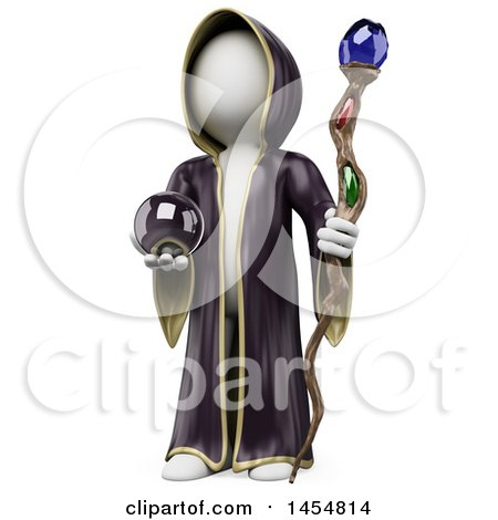 3d White Man Wizard Holding a Staff and Crystal Ball, on a White Background Posters, Art Prints