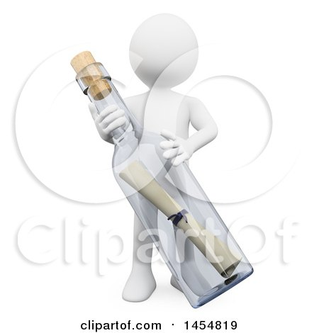 3d White Man with a Message in a Bottle, on a White Background Posters, Art Prints