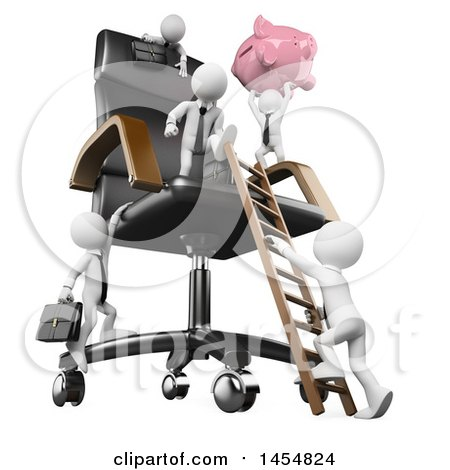 Clipart Graphic of a 3d White Business Man Holding up a Piggy Bank and Climbing a Giant Chair with Competitors, on a White Background - Royalty Free Illustration by Texelart
