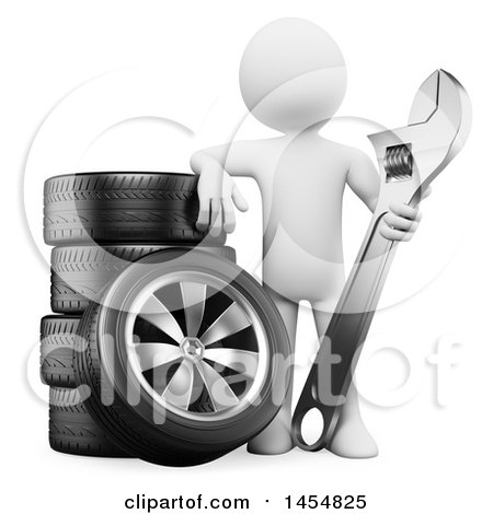 Clipart Graphic of a 3d White Man Mechanic Holding a Wrench by Tires, on a White Background - Royalty Free Illustration by Texelart