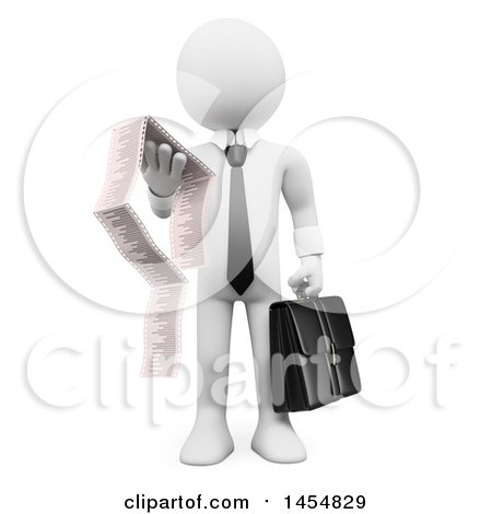 Clipart Graphic of a 3d White Business Man Reading a Long Invoice, on a White Background - Royalty Free Illustration by Texelart