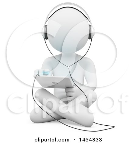 Clipart Graphic of a 3d White Man Sitting on the Floor and Using a Tablet, on a White Background - Royalty Free Illustration by Texelart