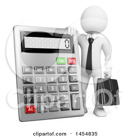 Clipart Graphic of a 3d White Business Man Accountant Leaning on a Giant Calculator, on a White Background - Royalty Free Illustration by Texelart