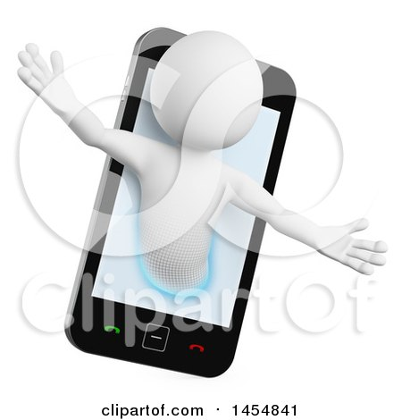 Clipart Graphic of a 3d White Man Emerging from a Smart Phone Screen, on a White Background - Royalty Free Illustration by Texelart