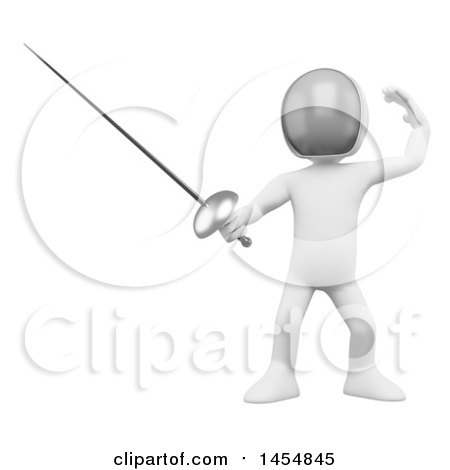 Clipart Graphic of a 3d White Man Fencing, on a White Background - Royalty Free Illustration by Texelart