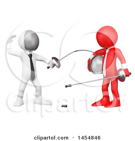 Clipart Graphic of a 3d White Man Fencing a Red Guy, on a White Background - Royalty Free Illustration by Texelart