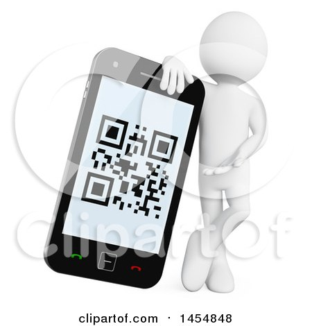 Clipart Graphic of a 3d White Man Leaning on and Presenting a Smart Phone with a Qr Code on Screen, on a White Background - Royalty Free Illustration by Texelart