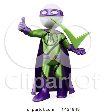 Clipart Graphic of a 3d White Man Super Hero Holding a Thumb up and a Check Mark, on a White Background - Royalty Free Illustration by Texelart
