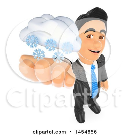 Clipart Graphic of a 3d Business Man Holding up a Snow Cloud, on a White Background - Royalty Free Illustration by Texelart
