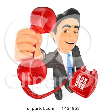 Clipart Graphic of a 3d Business Man Holding up a Landline Telephone, on a White Background - Royalty Free Illustration by Texelart