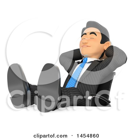Clipart Graphic of a 3d Business Man Relaxing with His Feet up on His Desk, on a White Background - Royalty Free Illustration by Texelart