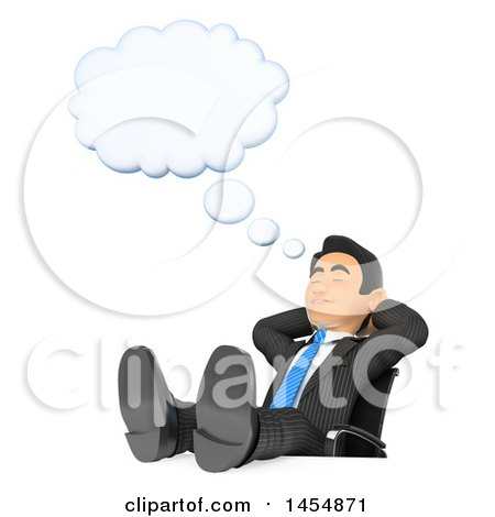 3d Business Man Dreaming With His Feet Up On Desk A White Background By Texelart