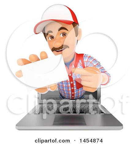 Clipart Graphic of a 3d Man Emerging from a Computer Screen and Holding out a Business Card, on a White Background - Royalty Free Illustration by Texelart