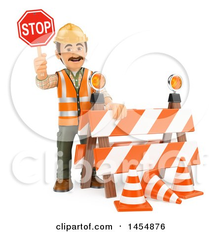 Clipart Graphic of a 3d Man Construction Worker Holding a Stop Sign by a Barrier, on a White Background - Royalty Free Illustration by Texelart